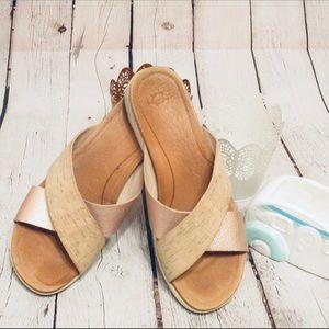 Ugg Rose Gold Cork Slip-On sandals Comfortable